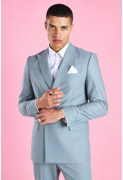 Blue Skinny Plain Double Breasted Minimal Suit Jacket