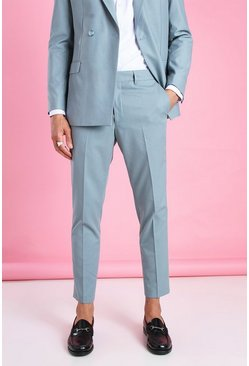 Blue Skinny Plain Cropped Suit Pants
