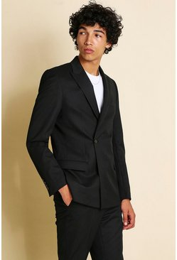 Black Skinny Plain Double Breasted Minimal Blazer