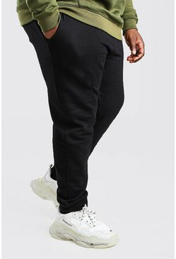 Big And Tall Schlichte Skinny Fit Jogginghosen, Schwarz