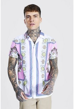 White Short Sleeve Revere Baroque Border Shirt