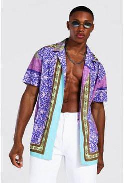 Lilac Oversized Ss Revere Baroque Border Shirt