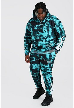 Green Big And Tall Tie Dye Flame Print Tracksuit