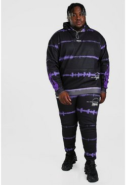 Purple Big And Tall Tie Dye Flame Print Tracksuit