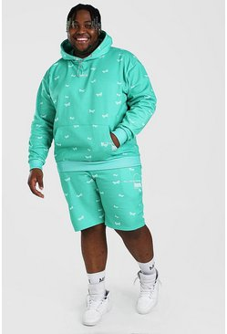 Green Big And Tall MAN Butterfly Short Tracksuit