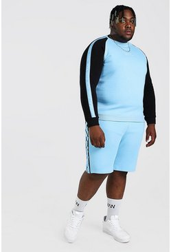 Light blue Big And Tall MAN Colour Block Tracksuit