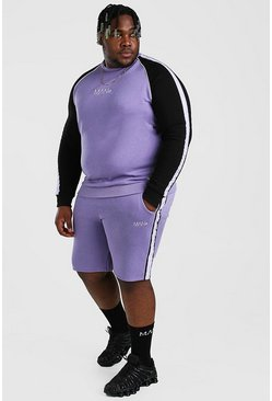Purple Plus Size MAN Colour Block Tracksuit