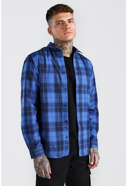 Blue Long Sleeve Regular Fit Check Shirt