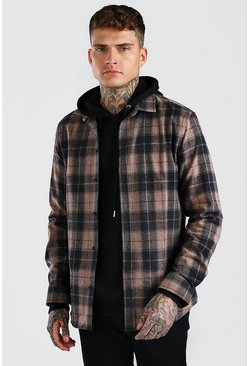 Beige Long Sleeve Regular Fit Flannel Check Shirt
