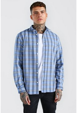 Mid blue Long Sleeve Regular Fit Flannel Check Shirt