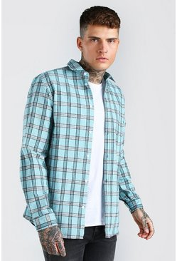 Mint Long Sleeve Regular Fit Check Shirt