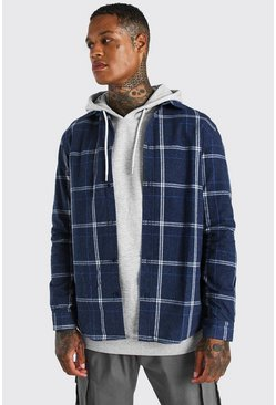Navy Long Sleeve Regular Fit Flannel Check Shirt