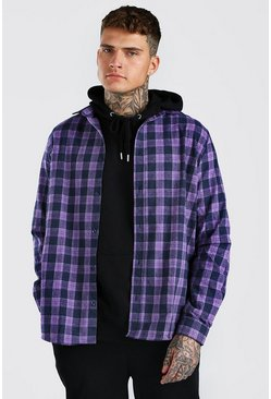 Purple Long Sleeve Oversize Check Shirt