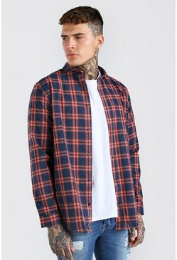 Navy Long Sleeve Longline Check Shirt