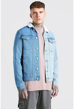 Blue Regular Fit Contrast Denim Jacket With Borg Collar