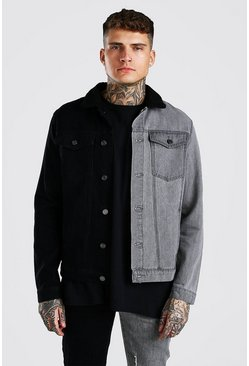 Black Regular Fit Contrast Denim Jacket With Borg Collar