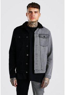 Black Regular Fit Contrast Denim Jacket With Borg Collar
