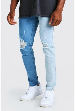 Blue Skinny Stretch Contrast Jeans With Ripped Knees