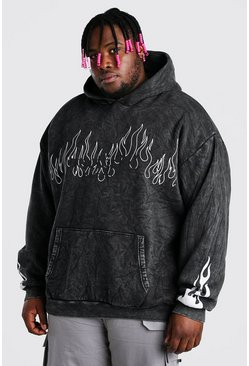 Black Plus Size Acid Wash MAN Flame Print Hoodie