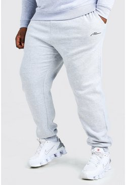 Grey marl Plus Size MAN Script Slim Fit Jogger