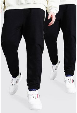 Big And Tall 2er-Pack Schlichte Skinny-Fit Jogginghosen, Schwarz