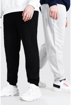 2er-Pack Plus Size Basic Skinny-Fit Jogginghosen, Mehrfarbig