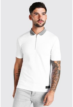 White Muscle Fit Half Zip Contrast Collar Knitted Polo