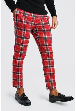 Red Large Scale Plaid Cropped Smart Pants