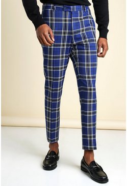 Large Scale Tartan Cropped Smart Trouser, Blue