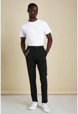 Black Stripe Chain Detail Smart Trousers