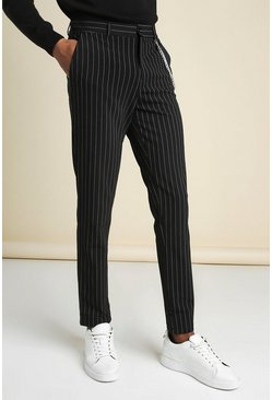 Black Stripe Chain Detail Smart Pants