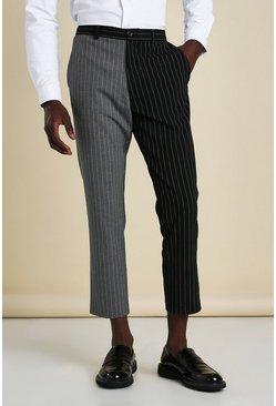Black Skinny Pinstripe Cropped Spliced Smart Trouser