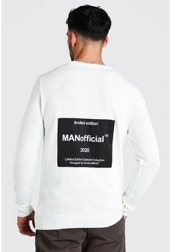 Cream MAN Official Back Print Crew Neck Jumper