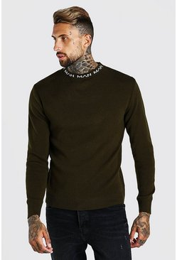 Green Muscle Fit Man Dash Turtle Neck Sweater