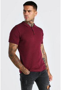 Burgundy Muscle Fit Ribbed Knitted Polo