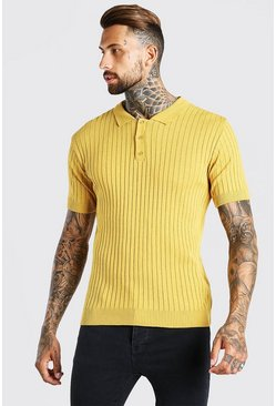 Mustard Muscle Fit Ribbed Knitted Polo
