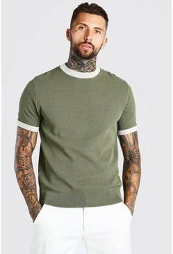Khaki Textured Knitted T-Shirt With Contrast Trims