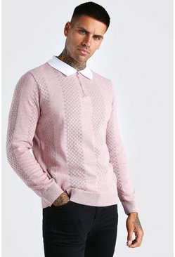 Dusky pink Long Sleeve Half Zip Contrast Knitted Polo