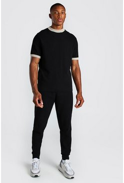 Black Knitted T-Shirt And Pintuck Jogger Set
