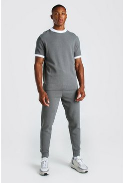 Grey Knitted T-Shirt And Pintuck Jogger Set