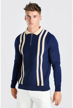 Navy Long Sleeve Contrast Stripe Knitted Polo