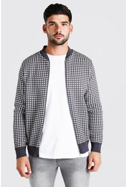 Grey Dogtooth Knitted Bomber Jacket