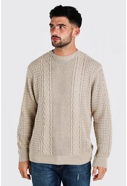 Camel Cable Knitted Crew Neck Jumper