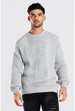 Grey marl Cable Knitted Crew Neck Jumper