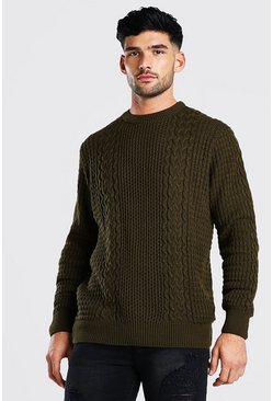 Khaki Cable Knitted Crew Neck Jumper