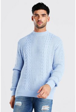 Pale blue Cable Knitted Crew Neck Jumper