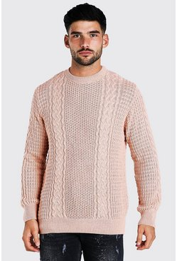 Pale pink Cable Knitted Crew Neck Jumper