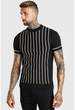 Black Turtle Neck Striped Knitted T-Shirt