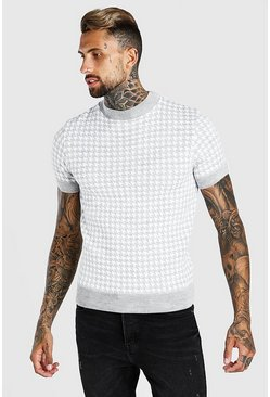 Light grey Turtle Neck Dogtooth Knitted T-Shirt