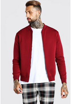 Burgundy Smart Knitted Bomber